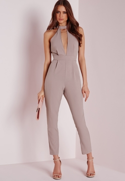 Choker Split Front Jumpsuit  by Missguided in The Mick