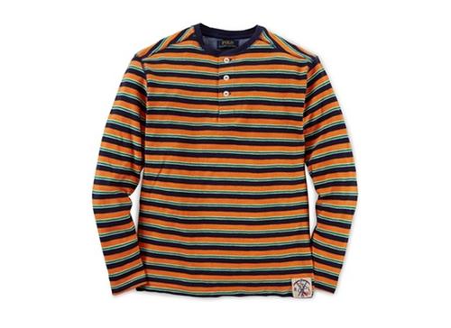 Striped Henley Shirt by Ralph Lauren in Demolition