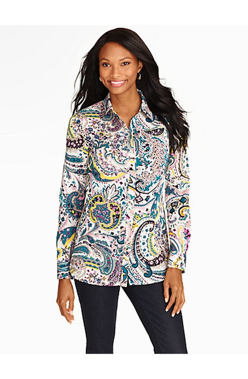 Watercolor Paisley Button-Front Shirt by Talbots in The Big Bang Theory - Season 9 Episode 1