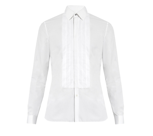 Double-Cuff Pleated-Bib Cotton Shirt by Burberry in Fifty Shades Darker
