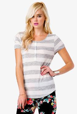 Open-Knit Striped Henley T-Shirt by Forever21 in A Walk Among The Tombstones