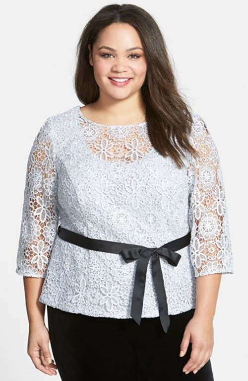 Belted Floral Lace Blouse by Alex Evenings in Black or White