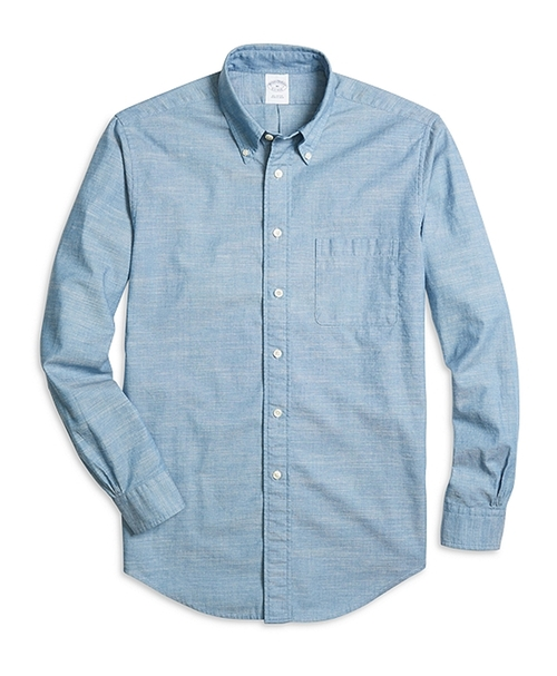 Regent Fit Chambray Sport Shirt by Brooks Brothers in The Flash - Season 2 Episode 5