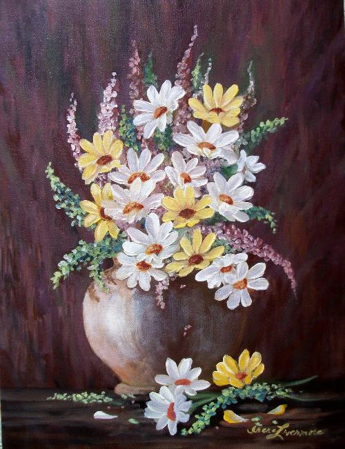 White & Yellow Daisies Bouquet Vase Original Realistic Still life Oil Painting by Irene's Gallery in Oculus