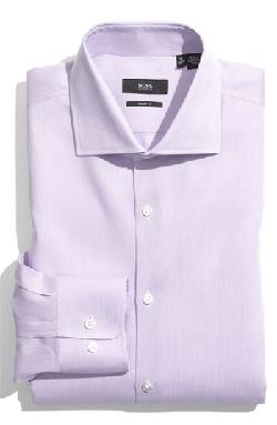 'Miles' Sharp Fit Tonal Stripe Cotton Dress Shirt by HUGO BOSS in The Wolf of Wall Street
