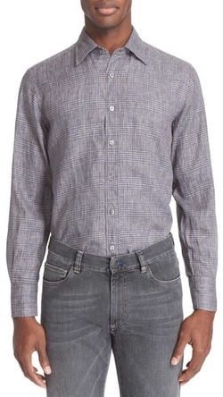 Regular Fit Plaid Linen Sport Shirt by Canali in Empire