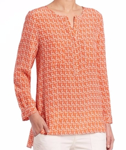 Seahorse-Print Silk Tunic Top by Joie in The Big Bang Theory