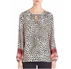 Lilly Silk Peasant Blouse by Kobi Halperin in Animal Kingdom