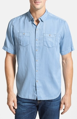 'New Twilly' Island Modern Fit Short Sleeve Twill Shirt by Tommy Bahama in Me and Earl and the Dying Girl
