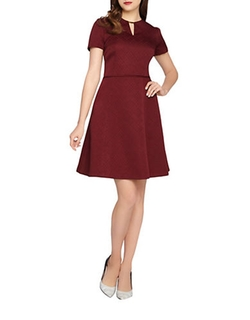 Short-Sleeve Fit-And-Flare Dress by Tahari Arthur S. Levine in Pitch Perfect
