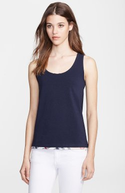 Stretch Cotton Scoop Neck Tank Top by Burberry Brit in Begin Again