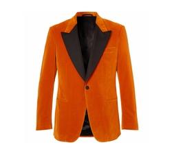 Eggsy's Orange Faille-Trimmed Cotton-Velvet Tuxedo Jacket by Kingsman in Kingsman: The Golden Circle