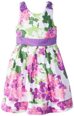 Girls' Stretch Floral Print Sateen Dress by Hartstrings in Little Fockers