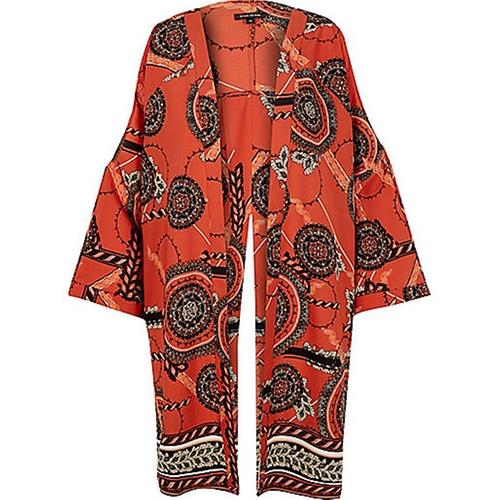 Print Split Back Kimono by River Island in Unbreakable Kimmy Schmidt - Season 2 Episode 1