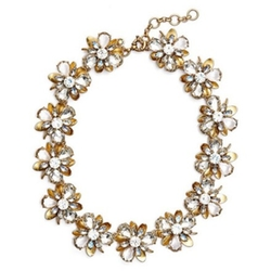 Metallic Gold Crystal Blossom Floral Statement Necklace by J.Crew in Pitch Perfect 3