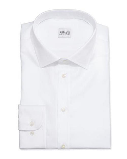 White-On-White Textured Stripe Dress Shirt by Armani Collezioni in Lucy