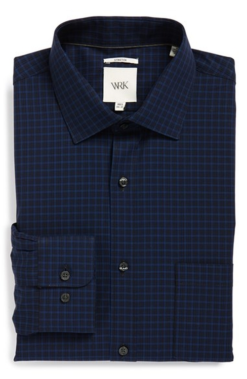 Extra Trim Fit Stretch Check Dress Shirt by W.R.K in Empire - Season 2 Episode 2