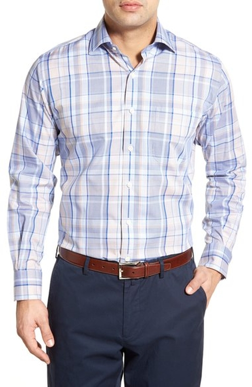 End on End Regular Fit Plaid Sport Shirt by Peter Millar in Man With A Plan - Season 1 Preview