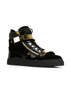 Zip Detail Hi-Top Sneakers by Giuseppe Zanotti in Empire