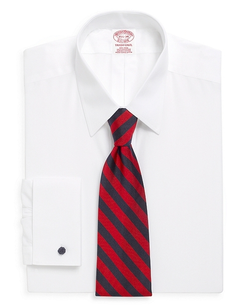 Non-Iron Traditional Fit Point Collar French Cuff Dress Shirt by Brooks Brothers in The Walk
