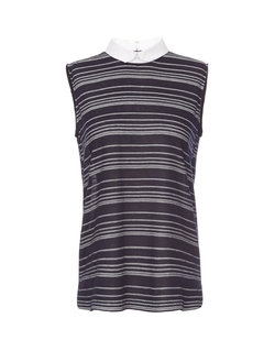 Sheer Sleeveless Striped Collar Shirt by O'2nd in Elementary