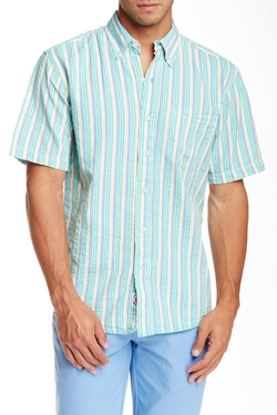Laguna Seersucker Classic Fit Short Sleeve Shirt by Vintage 1946 in Inherent Vice