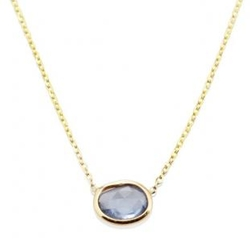 Rose Cut Sapphire Slice Necklace by Vale Jewelry in Billions