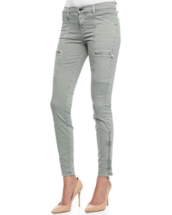 Kassidy Vintage Olive Zipper-Detail Skinny-Leg Jeans by J Brand Jeans in Maze Runner: The Scorch Trials