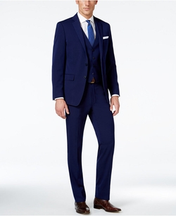 X-Fit Navy Solid Extra Slim-Fit Vested Suit by Calvin Klein in Power