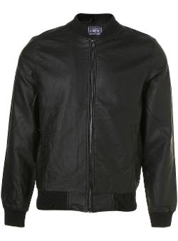 Black Faux Leather Bomber Jacket by TOPMAN in This Is Where I Leave You