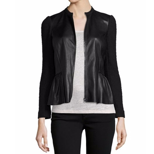 Boucle & Leather Peplum Jacket by Rebecca Taylor in Keeping Up with the Joneses