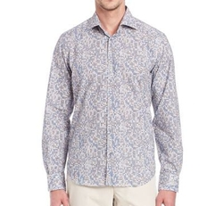 Regular-Fit Abstract Printed Shirt by Saks Fifth Avenue Collection in Rosewood
