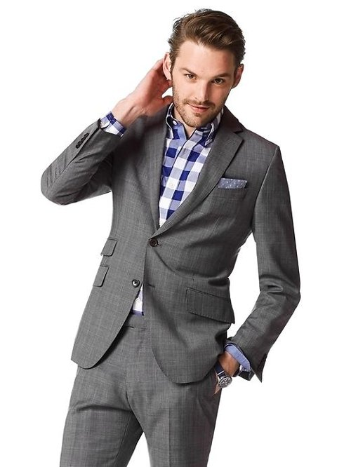 Modern Slim-Fit Grey Plaid Wool Suit Jacket by Banana Republic in Blackhat