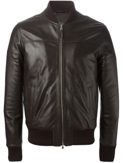 Leather Bomber Jacket by Eleventy in The Mindy Project