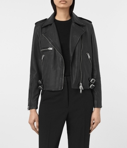 Higgens Leather Biker Jacket by AllSaints in Pitch Perfect 3