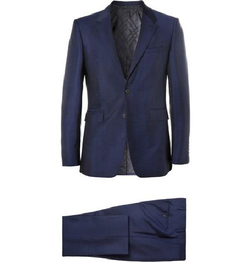 BLUE WOOL AND MOHAIR-BLEND SUIT by BURBERRY LONDON in Million Dollar Arm