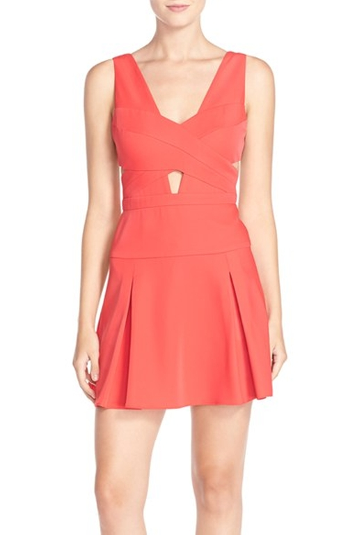 Cutout Ponte Fit & Flare Dress by BCBGMAXAZRIA in Miss You Already