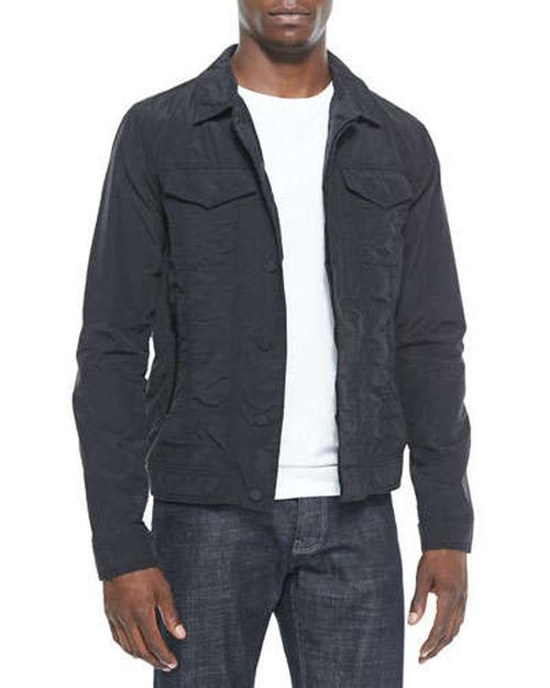Nylon Trucker Jacket Black by J Brand Jeans in The Wolverine