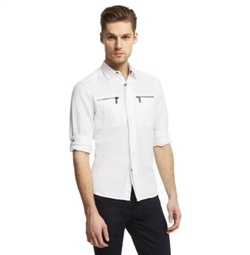 Long-Sleeve Linen Shirt Jacket by Kenneth Cole in Ballers