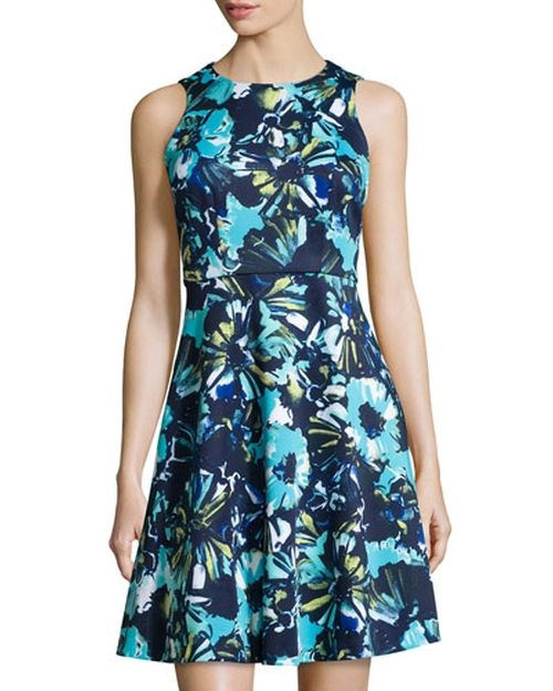 Floral Sleeveless Fit-and-Flare Dress by Donna Morgan in The Big Bang Theory - Season 9 Episode 1