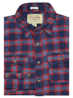 Muscle Fit Flannel Logo Shirt by Abercrombie & Fitch in The Big Bang Theory