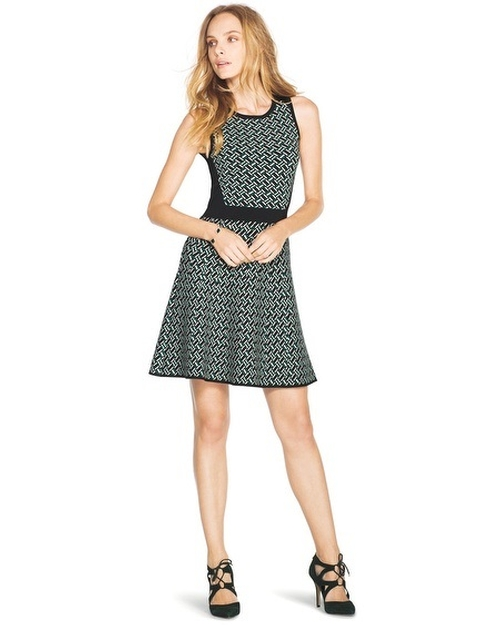 Fit-And-Flare Jacquard Dress by White House Black Market in My All American