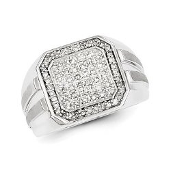 Sterling Silver Diamond Square Mens Ring by Gold and Watches in Furious 7