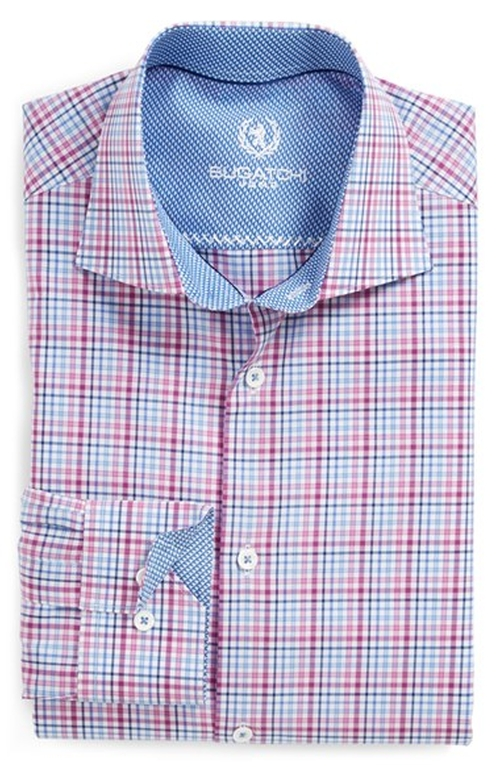 Trim Fit Plaid Dress Shirt by Bugatchi in The Mindy Project - Season 4 Episode 9