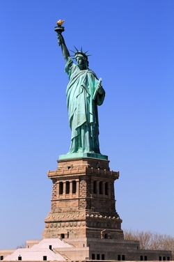 New York City, New York by Statue of Liberty National Monument in Suits