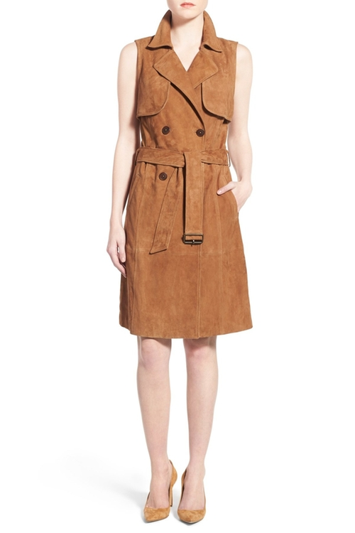 Sleeveless Suede Trench Dress by Olivia Palermo + Cheasea28 in Mistresses - Season 4 Episode 5