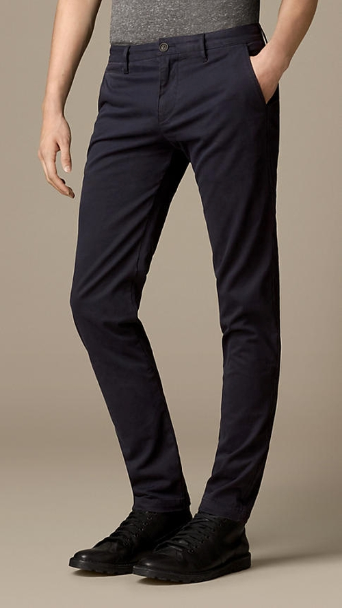 Skinny Fit Cotton Twill Chinos Pants by Burberry in Begin Again