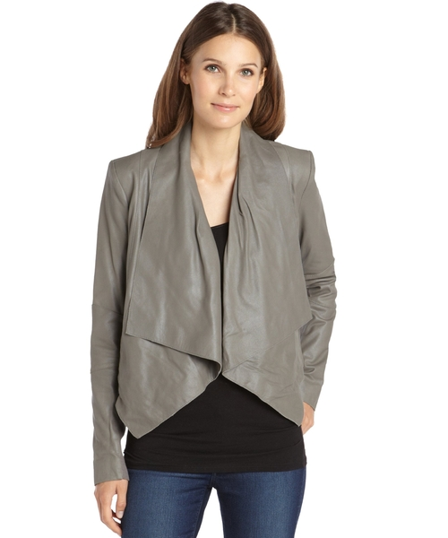 Stone Grey Leather Drape Front Jacket by BCBGMAXAZRIA in Pretty Little Liars - Season 6 Episode 6