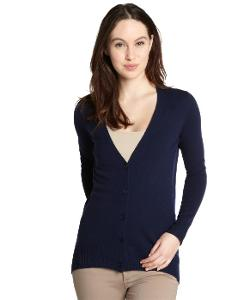 Navy Long Sleeve Button Up Cashmere Cardigan by Wyatt in Couple's Retreat
