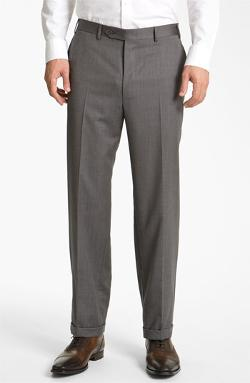 Flat Front Wool Trousers by Canali in Neighbors